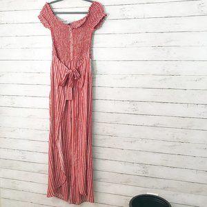 Red Wide Leg Off Shoulder Tie Waist Jumpsuit XL